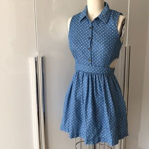 Blue polka dot cut out button up dress